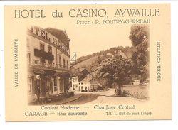 AYWAILLE   HOTEL Du  CASINO        Carte Publicitaire Vierge - Aywaille