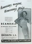 Affiche Publicitaire 1935 :Lingerie SCANDALE - OCCULTA - Advertising