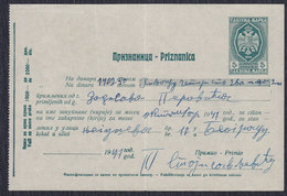 WWII Germany Occupation Of Serbia 1941 Receipt With Printed Revenue (tax) Stamp Of 5 Din - Occupation 1938-45