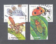 """France Oblitérés N°5147 à 5150 (les 4 Timbres Du Bloc """"Insectes De Nos Régions"""") (cachet Rond) - Frankreich"""