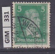 GERMANIA IMPERO, 1926Tedeschi Famosi, 5 Pf, Usato - Gebruikt