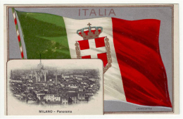 MILANO SERIE VEDUTINA E BANDIERA ITALIANA A RILIEVO - Milano