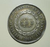 Brazil 500 Reis 1866 Silver - Brazil
