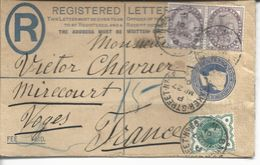 Entier Postal Victoria (michel 20A) Registered + Compl. 73x2, 92 Pour Mirecourt 1901 - Entiers Postaux