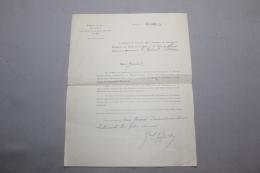 Invitation Du Général Herr Au Général Fain Pour L'inauguration Du Monument Aux Mort De L'artillerie à Fontainebleau 1925 - 1914-18