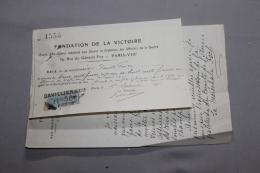 """Reçu Pour """"la Fondation De La Victoire"""" Avec Une Lettre De La Maréchale Foch - 1914-18"""