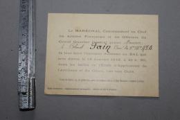 Bristol D'invitation Du Maréchal Foch Au Bal école D'application D'artillerie 19 Janvier 1919 - 1914-18
