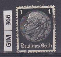 GERMANIA IMPERO,1934Pres Hindenburg, 1 Pf, Usato - Gebruikt