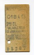 """Beau Ticket De Métro Vers 1910 Ligne 7 - Station Porte De La Villette """"Métropolitain - Paris"""" Chemin De Fer - Métro"""