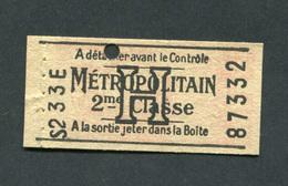 """Tarif H Rare, état Impeccable ! Ticket De Métro Parisien """"Métropolitain 2ème Classe - Lettre H"""" Issu De Carnet - Subway"""