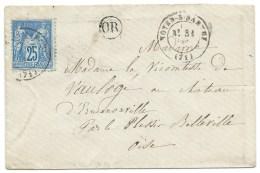 ENVELOPPE SAGE 25 C BLEU / NOYEN SUR SARTHE POUR CHATEAU ERMENONVILLE PAR LE PLESSIS BELLEVILLE / 1878 - Poststempel (Briefe)