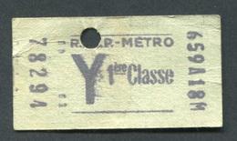 """Ticket De Métro """"Y Tarif Réduit"""" RATP 1ère Classe 1968 - Billet De Train - Subway"""