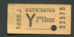 """Ticket De Métro """"Y Tarif Réduit - Carnet"""" RATP 2ème Classe 1968 - Billet De Train - Subway"""