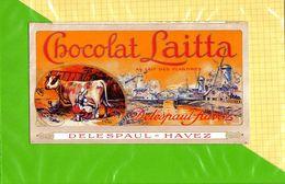 Etiquette De Chocolat  : Chocolat LAITTA  DELESPAUL HAVET   Vache Laitiere - Labels