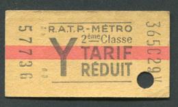 """Ticket De Métro """"Y Tarif Réduit"""" RATP 2ème Classe 1967 - Billet De Train - Subway"""