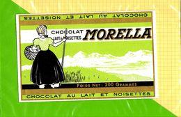 Etiquette De Chocolat Lait Noisettes MORELLA - Labels