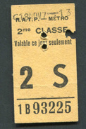 Ticket De Métro - RATP 2ème Classe 1967 - Billet De Train - Subway