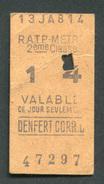 """Ticket De Métro """"Denfert Correspondance"""" RATP 2ème Classe 1967 - Billet De Train - Subway"""