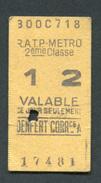"""Ticket De Métro """"Denfert - Correspondance"""" RATP 2ème Classe 1967 - Billet De Train - Subway"""