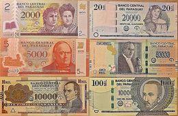 C) PARAGUAY BANK NOTE 6PC SET UNC ND 2011 - 2016 - Paraguay