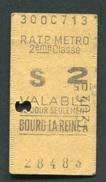 """Ticket De Métro """"Bourg-la-Reine"""" RATP 2ème Classe 1967 - Billet De Train - Subway"""