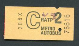 """Très Beau Ticket De Métro - Autobus Début Années 70 """"Métropolitain - Paris"""" Chemin De Fer - Métro"""