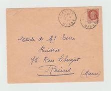 LSC 1944 - Cachet Perlé CUCHERY (Marne) Sur Timbre Pétain - Marcophilie (Lettres)