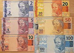 C) BRAZIL BANK NOTES 6PC SET REAIS UNC ND 2010 - Brazil