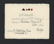 Old INVITATION For BRIDGE CARD GAME Mrs Seadgwick Request Mrs Lassman To WANSTEAD UK 1900s - Announcements