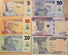 C) NIGERIA BANK NOTES 6 PCS SET UNC NAIRA ND 2014-2016 - Nigeria