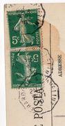 """1910--cachet """" Gérardmer à Laveline """" Type  Semeuse  Sur CPA  GERARDMER - 88 - Marcophilie (Lettres)"""