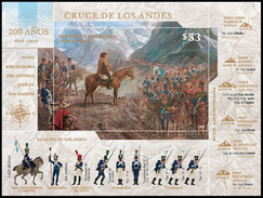 HISTORY-STAMPS-ARGENTINA 2017-200 YEARS OF CROSSING OF THE ANDES- - Blocs-feuillets