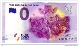 2016-2 BILLET TOURISTIQUE 0 EURO SOUVENIR N°UEBR001011 PARC ZOOLOGIQUE DE PARIS - EURO