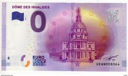 2016-1 BILLET TOURISTIQUE 0 EURO SOUVENIR N°UEAN005150 DOME DES INVALIDES - EURO