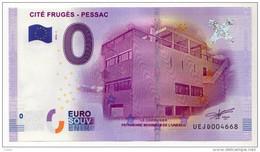 2016-1 BILLET TOURISTIQUE 0 EURO SOUVENIR N°UEJD001698 CITE FRUGES PESSAC - EURO