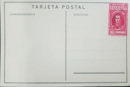 O) 1937 VENEZUELA-UNITED STATES OF VENEZUELA,POSTAL CARD- SPECIMEN-BOLIVAR 10 CENTIMOS RED, XF - Venezuela