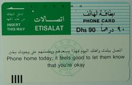UNITED ARAB EMIRATES - 1st Issue - Tamura - Phone Home Today - 90 - Light Blue - UAE10 - Used - United Arab Emirates