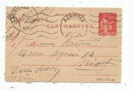 Carte Lettre ,1937 , ENTIER POSTAL , ASNIERES , SEINE , 50c - Entiers Postaux