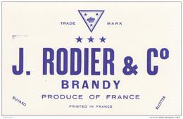 Buvard Brandy J. Rodier Et Cie - Liquor & Beer