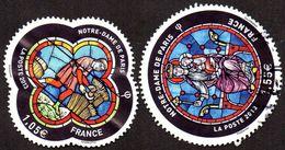 Oblitération Cachet à Date Sur Timbre De France N° 4714 Et 4715 Vitraux De Notre Dame De Paris - France