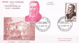 FRANCE  F.D.C N° 1217 Jean Jaures . 12 09 1959  .  Castres - 1950-1959
