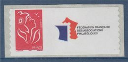 = Timbre Marianne De Lamouche Neuf YT N° 3802Ae Et Spink N°30a Logo FFAP Issu De Roulette - Personalized Stamps