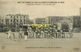 63 Clermont-Ferrand, Fête Des Sociétés De Gymnastique 1907, Pyramide Par Les élèves De L'Ecole De Billom - Clermont Ferrand