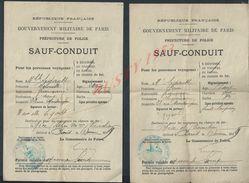 MILITARIA GOUVERNEMENT MILITAIRE DE PARIS SAUF CONDUIT TAMPON COMMANDAT DE POLICE PARIS VIII Ars DE Mr,Md SÉGAULT HENRI - 1914-18