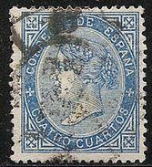 1867-ED. 88 ISABEL II  CUATRO CUARTOS AZUL- USADO MAT. FECHADOR Y RUEDA DE CARRETA-RARO - 1850-68 Reino: Isabel II