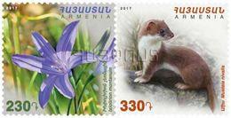 Armenia Arménie Armenien 2017 Flora And Fauna Ixiolirion Montanum Mustela Nivalis Red Book Of Armenia Weasel MNH** - Armenia