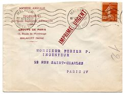 SEINE - Dépt N° 75 = MALAKOFF / BANLIEUE OUEST 1933 = FLAMME KRAG MUETTE  ' 5 Lignes Ondulées ' - Postmark Collection (Covers)