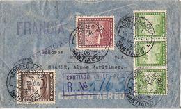 RARE MARCOPHILIE LETTRE RECOMMANDEE PAR AVION CHILI SANTIAGO DE 1939 - Chili