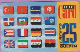 Télécarte Hollande °° 25 Gulden - 16 Drapeaux 2001 - 6251 RV  *  TBE - Pays-Bas