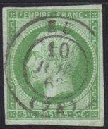 Napoléon N°12, Cachet à Date 15, Eu (Seine Inférieure), 1863 (voir Descriptif). - Marcophilie (Timbres Détachés)